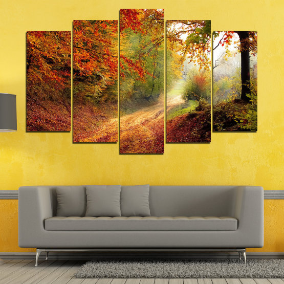 Canvas prints & wall decorative panels - 5 pieces №0764 » Red, Orange, Brown, Black » Forest, Tree, Autumn, Colorful, Leaves, Road, Park Form #1