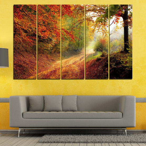 Canvas prints & wall decorative panels - 5 pieces №0764 » Red, Orange, Brown, Black » Forest, Tree, Autumn, Colorful, Leaves, Road, Park Form #2