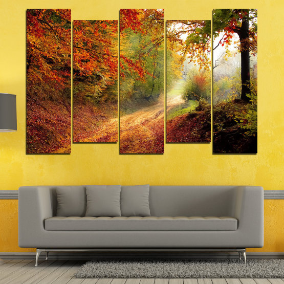 Canvas prints & wall decorative panels - 5 pieces №0764 » Red, Orange, Brown, Black » Forest, Tree, Autumn, Colorful, Leaves, Road, Park Form #3