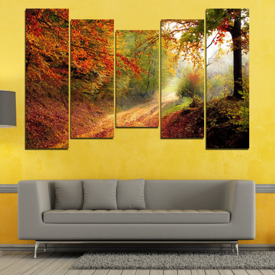 Canvas prints & wall decorative panels - 5 pieces №0764 » Red, Orange, Brown, Black » Forest, Tree, Autumn, Colorful, Leaves, Road, Park Form #4