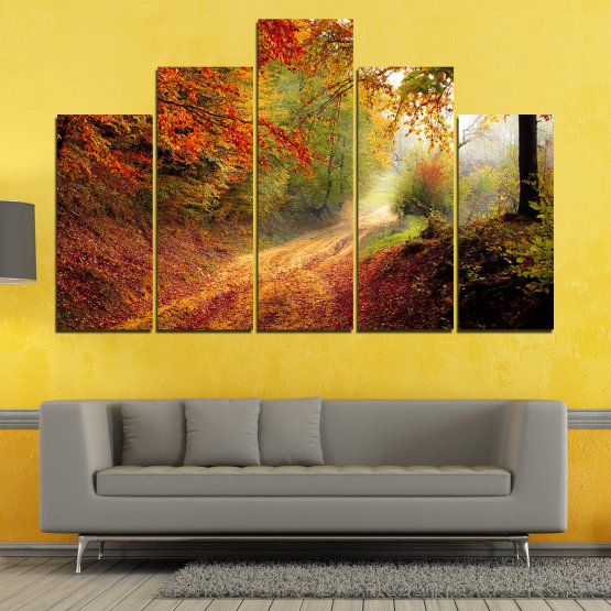Canvas prints & wall decorative panels - 5 pieces №0764 » Red, Orange, Brown, Black » Forest, Tree, Autumn, Colorful, Leaves, Road, Park Form #5