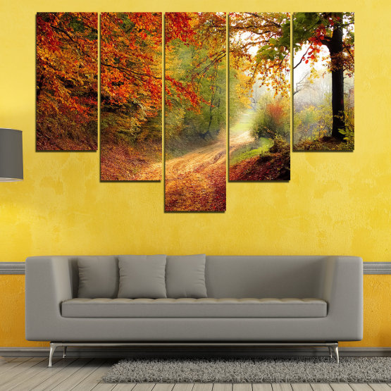Canvas prints & wall decorative panels - 5 pieces №0764 » Red, Orange, Brown, Black » Forest, Tree, Autumn, Colorful, Leaves, Road, Park Form #6