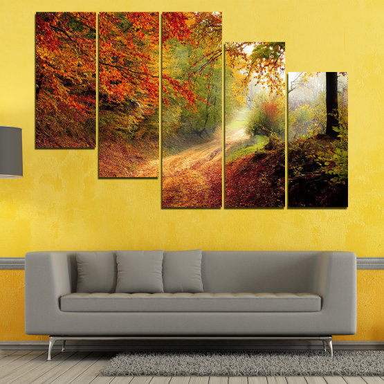 Canvas prints & wall decorative panels - 5 pieces №0764 » Red, Orange, Brown, Black » Forest, Tree, Autumn, Colorful, Leaves, Road, Park Form #7