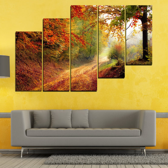 Canvas prints & wall decorative panels - 5 pieces №0764 » Red, Orange, Brown, Black » Forest, Tree, Autumn, Colorful, Leaves, Road, Park Form #8