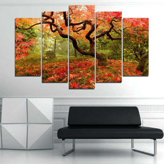 Canvas prints & wall decorative panels - 5 pieces №0765 » Red, Green, Orange, Brown, Black » Forest, Tree, Autumn, Leaves Form #1