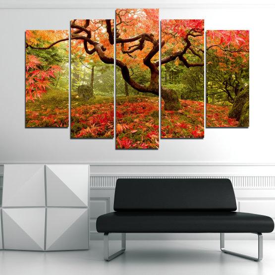 Декоративни панели и картини от канава - от 5 части №0765 » Червен, Зелен, Оранжев, Кафяв, Черен » Гора, Дърво, Есен, Листа Form #1