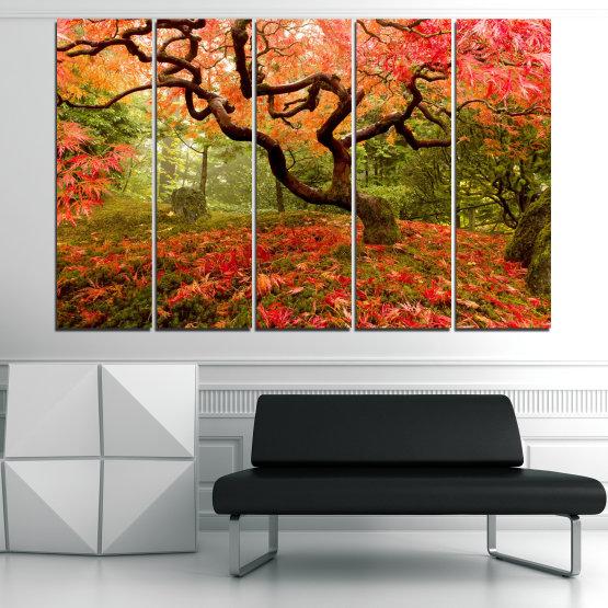 Декоративни панели и картини от канава - от 5 части №0765 » Червен, Зелен, Оранжев, Кафяв, Черен » Гора, Дърво, Есен, Листа Form #2