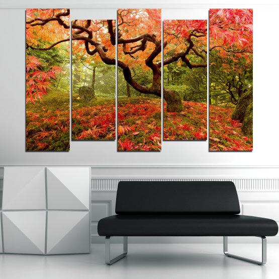 Декоративни панели и картини от канава - от 5 части №0765 » Червен, Зелен, Оранжев, Кафяв, Черен » Гора, Дърво, Есен, Листа Form #3