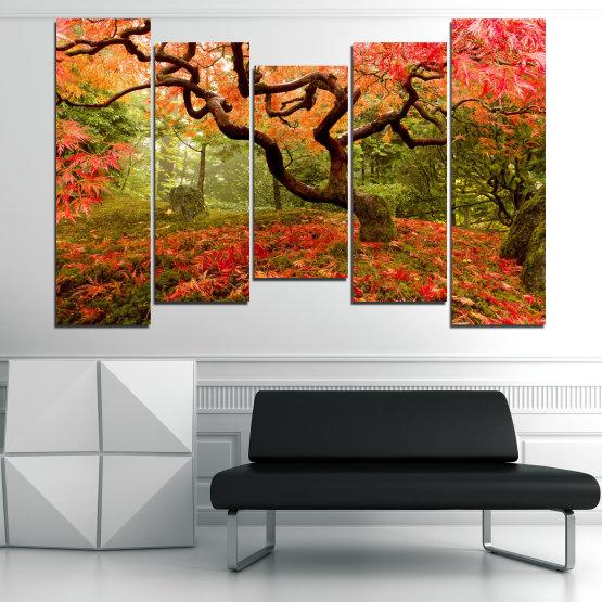 Декоративни панели и картини от канава - от 5 части №0765 » Червен, Зелен, Оранжев, Кафяв, Черен » Гора, Дърво, Есен, Листа Form #4