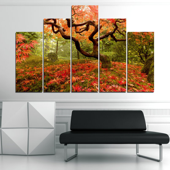 Canvas prints & wall decorative panels - 5 pieces №0765 » Red, Green, Orange, Brown, Black » Forest, Tree, Autumn, Leaves Form #5