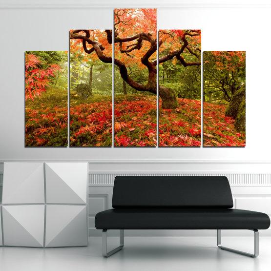 Декоративни панели и картини от канава - от 5 части №0765 » Червен, Зелен, Оранжев, Кафяв, Черен » Гора, Дърво, Есен, Листа Form #5