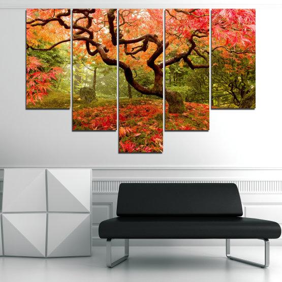 Декоративни панели и картини от канава - от 5 части №0765 » Червен, Зелен, Оранжев, Кафяв, Черен » Гора, Дърво, Есен, Листа Form #6