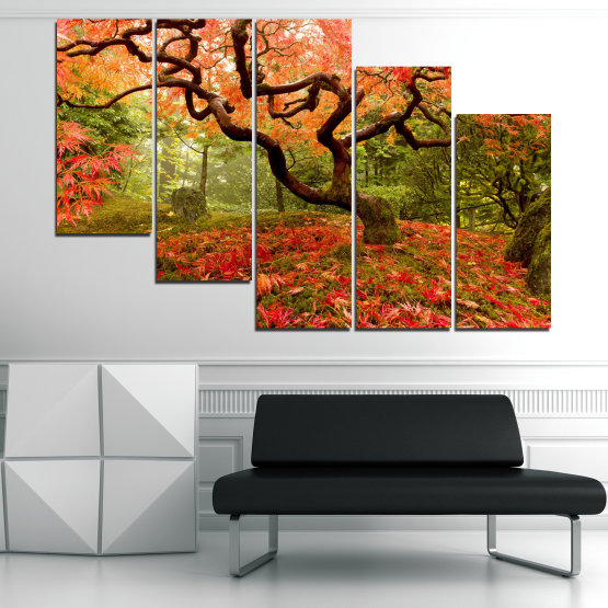 Canvas prints & wall decorative panels - 5 pieces №0765 » Red, Green, Orange, Brown, Black » Forest, Tree, Autumn, Leaves Form #7