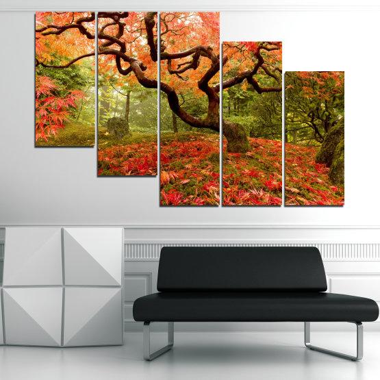 Декоративни панели и картини от канава - от 5 части №0765 » Червен, Зелен, Оранжев, Кафяв, Черен » Гора, Дърво, Есен, Листа Form #7