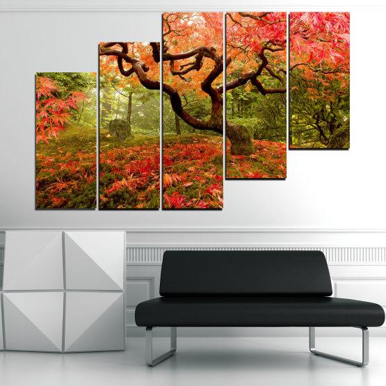 Декоративни панели и картини от канава - от 5 части №0765 » Червен, Зелен, Оранжев, Кафяв, Черен » Гора, Дърво, Есен, Листа Form #8