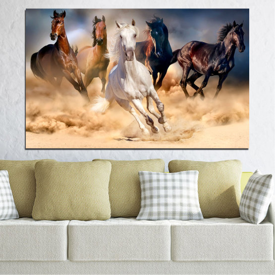Canvas prints & wall decorative panels - 1 piece №0766 » Brown, Black, Gray, Beige, Dark grey » Nature, Animals, Horse Form #1