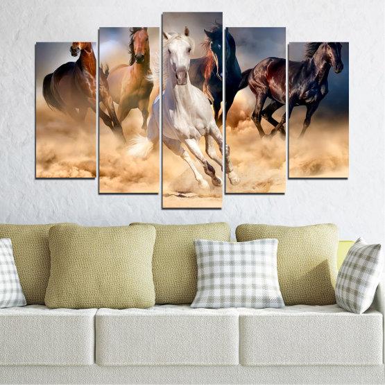 Декоративни панели и картини от канава - от 5 части №0766 » Кафяв, Черен, Сив, Бежов, Тъмно сив » Природа, Кон, Животни Form #1