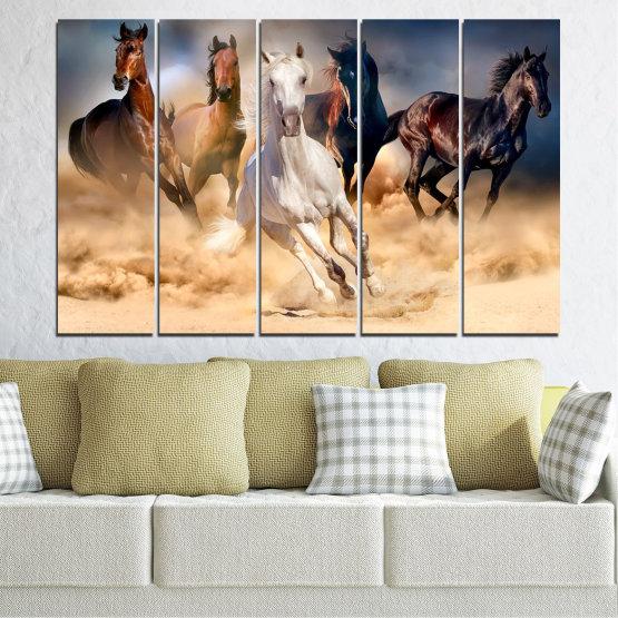 Canvas prints & wall decorative panels - 5 pieces №0766 » Brown, Black, Gray, Beige, Dark grey » Nature, Animals, Horse Form #2