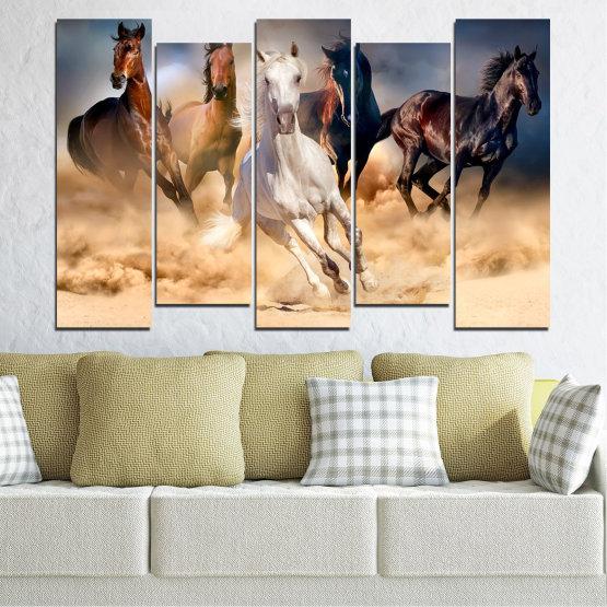 Εκτύπωση σε καμβά και διακοσμητικά πάνελ τοίχου - 5 τεμάχια №0766 » Καστανός, Μαύρος, Γκρί, Μπεζ, Σκούρο γκρι » Φύση, Των ζώων, Άλογο Form #3