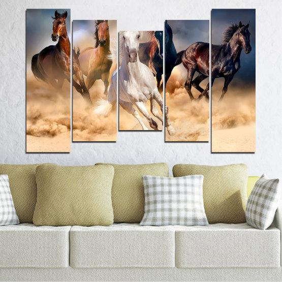 Εκτύπωση σε καμβά και διακοσμητικά πάνελ τοίχου - 5 τεμάχια №0766 » Καστανός, Μαύρος, Γκρί, Μπεζ, Σκούρο γκρι » Φύση, Των ζώων, Άλογο Form #4