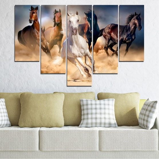 Εκτύπωση σε καμβά και διακοσμητικά πάνελ τοίχου - 5 τεμάχια №0766 » Καστανός, Μαύρος, Γκρί, Μπεζ, Σκούρο γκρι » Φύση, Των ζώων, Άλογο Form #6