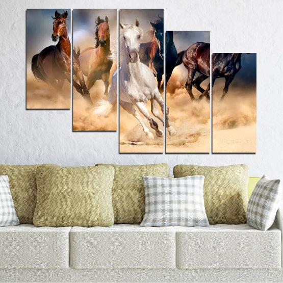 Εκτύπωση σε καμβά και διακοσμητικά πάνελ τοίχου - 5 τεμάχια №0766 » Καστανός, Μαύρος, Γκρί, Μπεζ, Σκούρο γκρι » Φύση, Των ζώων, Άλογο Form #7