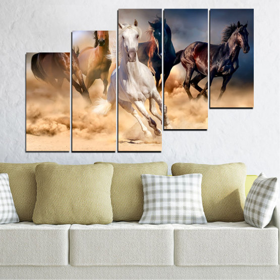 Canvas prints & wall decorative panels - 5 pieces №0766 » Brown, Black, Gray, Beige, Dark grey » Nature, Animals, Horse Form #8