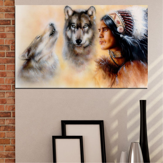 Canvas prints & wall decorative panels - 1 piece №0767 » Brown, Black, Gray, Beige » Wolf, Eyes, Wild Form #1