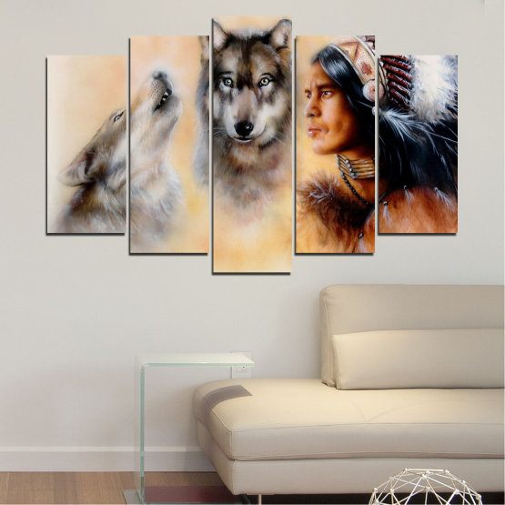 Canvas prints & wall decorative panels - 5 pieces №0767 » Brown, Black, Gray, Beige » Wolf, Eyes, Wild Form #1