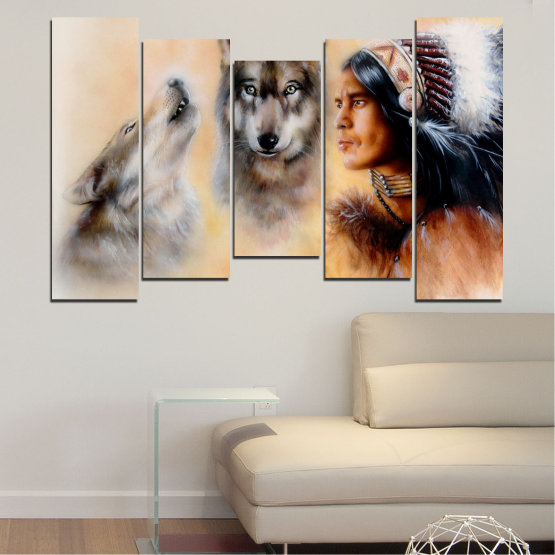 Canvas prints & wall decorative panels - 5 pieces №0767 » Brown, Black, Gray, Beige » Wolf, Eyes, Wild Form #4