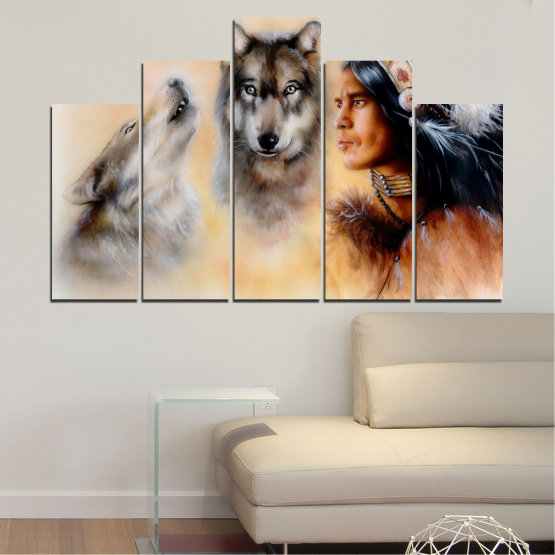 Canvas prints & wall decorative panels - 5 pieces №0767 » Brown, Black, Gray, Beige » Wolf, Eyes, Wild Form #5