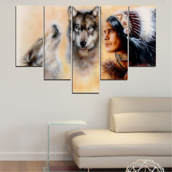 Canvas prints & wall decorative panels - 5 pieces №0767 » Brown, Black, Gray, Beige » Wolf, Eyes, Wild Form #6