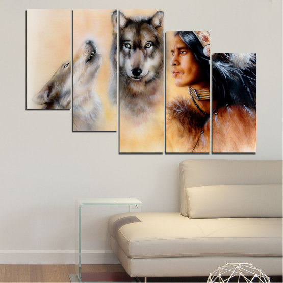 Canvas prints & wall decorative panels - 5 pieces №0767 » Brown, Black, Gray, Beige » Wolf, Eyes, Wild Form #7