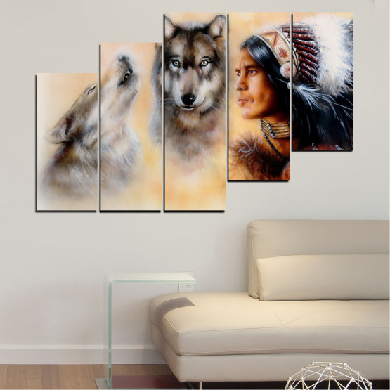 Canvas prints & wall decorative panels - 5 pieces №0767 » Brown, Black, Gray, Beige » Wolf, Eyes, Wild Form #8
