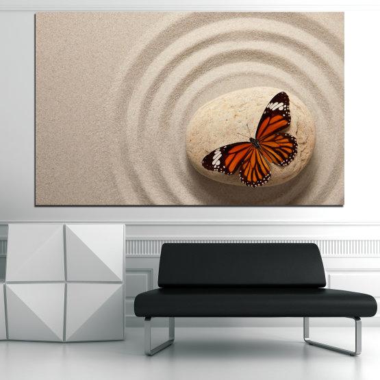 Εκτύπωση σε καμβά και διακοσμητικά πάνελ τοίχου - 1 τεμάχιο №0768 » Καστανός, Γκρί, Μπεζ, Σκούρο γκρι » Πεταλούδα, Zen, Άμμος, Πέτρα Form #1