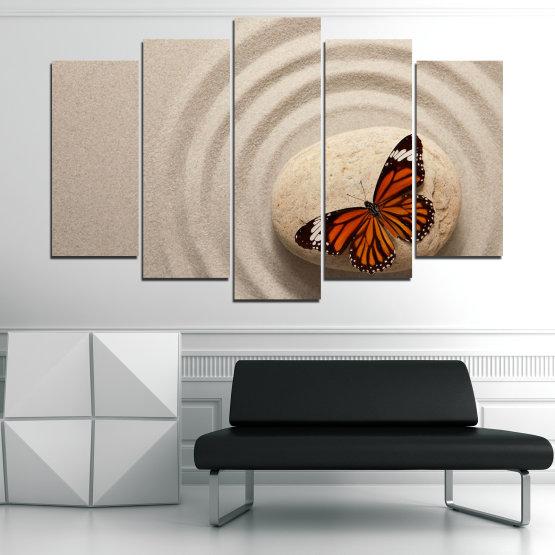 Декоративни панели и картини от канава - от 5 части №0768 » Кафяв, Сив, Бежов, Тъмно сив » Пеперуда, Дзен, Пясък, Камък Form #1