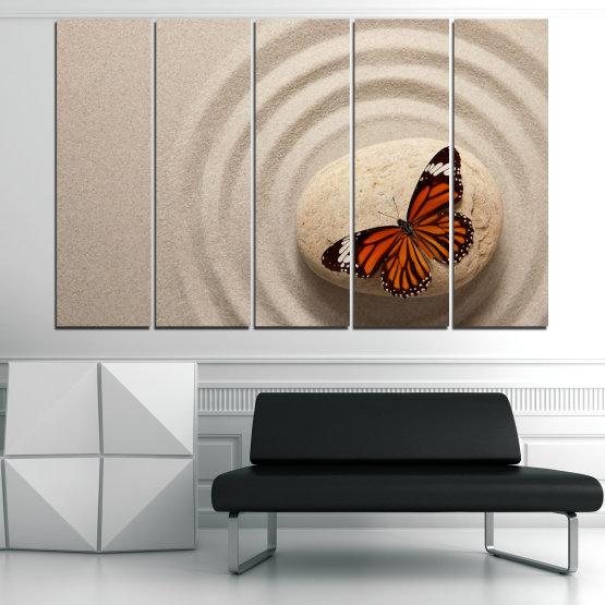 Декоративни панели и картини от канава - от 5 части №0768 » Кафяв, Сив, Бежов, Тъмно сив » Пеперуда, Дзен, Пясък, Камък Form #2