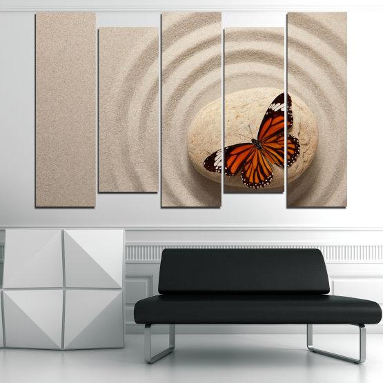 Canvas prints & wall decorative panels - 5 pieces №0768 » Brown, Gray, Beige, Dark grey » Butterfly, Zen, Sand, Stone Form #3