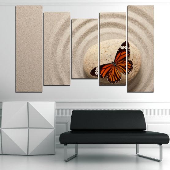 Canvas prints & wall decorative panels - 5 pieces №0768 » Brown, Gray, Beige, Dark grey » Butterfly, Zen, Sand, Stone Form #4