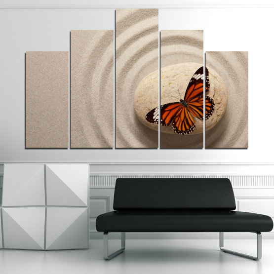 Canvas prints & wall decorative panels - 5 pieces №0768 » Brown, Gray, Beige, Dark grey » Butterfly, Zen, Sand, Stone Form #5