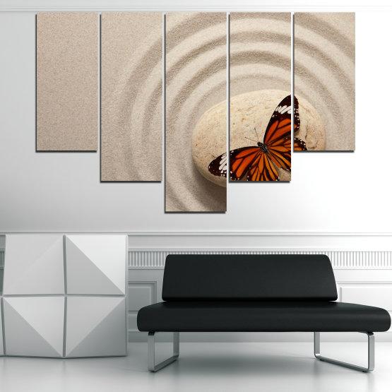 Декоративни панели и картини от канава - от 5 части №0768 » Кафяв, Сив, Бежов, Тъмно сив » Пеперуда, Дзен, Пясък, Камък Form #6