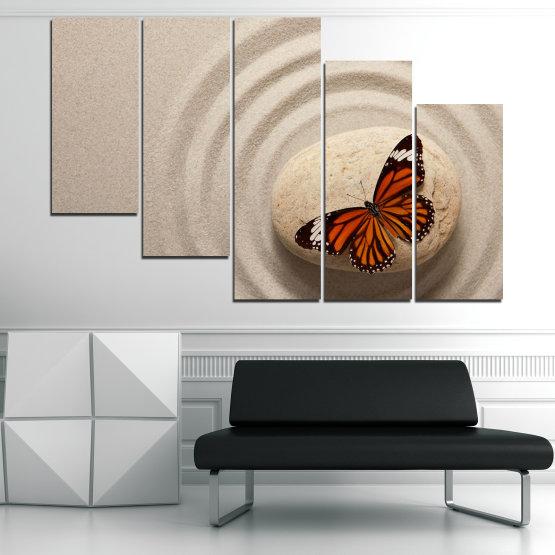 Декоративни панели и картини от канава - от 5 части №0768 » Кафяв, Сив, Бежов, Тъмно сив » Пеперуда, Дзен, Пясък, Камък Form #7