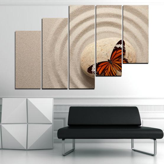 Декоративни панели и картини от канава - от 5 части №0768 » Кафяв, Сив, Бежов, Тъмно сив » Пеперуда, Дзен, Пясък, Камък Form #8
