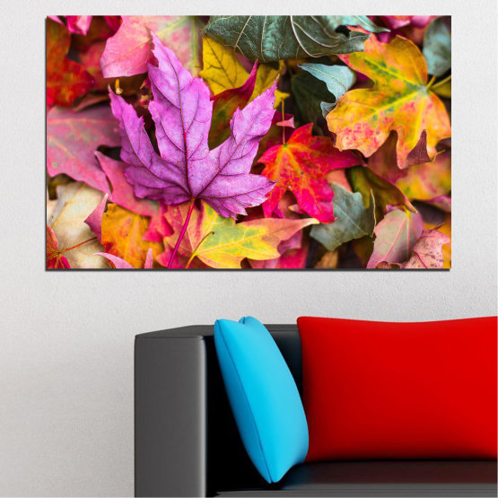 Canvas prints & wall decorative panels - 1 piece №0769 » Red, Pink, Purple, Yellow, Brown, Milky pink, Dark grey » Tree, Autumn, Colorful, Leaf, Leaves Form #1