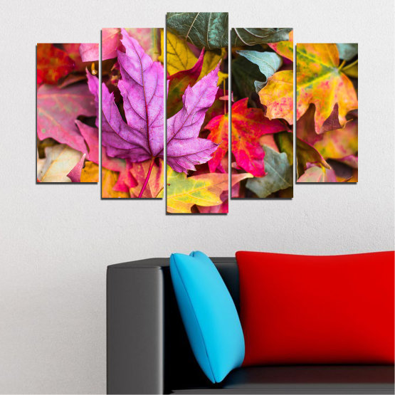 Canvas prints & wall decorative panels - 5 pieces №0769 » Red, Pink, Purple, Yellow, Brown, Milky pink, Dark grey » Tree, Autumn, Colorful, Leaf, Leaves Form #1