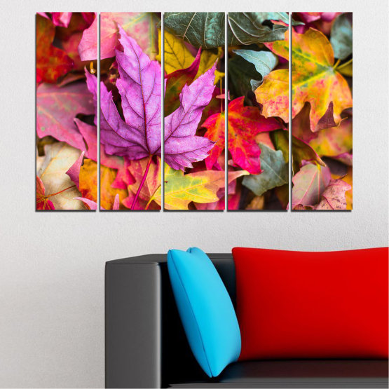 Canvas prints & wall decorative panels - 5 pieces №0769 » Red, Pink, Purple, Yellow, Brown, Milky pink, Dark grey » Tree, Autumn, Colorful, Leaf, Leaves Form #2
