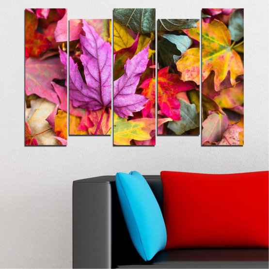 Canvas prints & wall decorative panels - 5 pieces №0769 » Red, Pink, Purple, Yellow, Brown, Milky pink, Dark grey » Tree, Autumn, Colorful, Leaf, Leaves Form #3