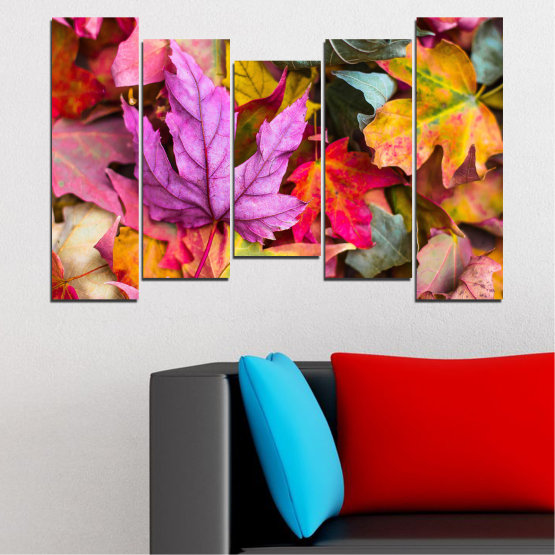 Canvas prints & wall decorative panels - 5 pieces №0769 » Red, Pink, Purple, Yellow, Brown, Milky pink, Dark grey » Tree, Autumn, Colorful, Leaf, Leaves Form #4