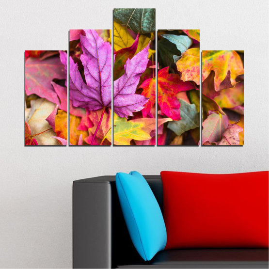 Canvas prints & wall decorative panels - 5 pieces №0769 » Red, Pink, Purple, Yellow, Brown, Milky pink, Dark grey » Tree, Autumn, Colorful, Leaf, Leaves Form #5
