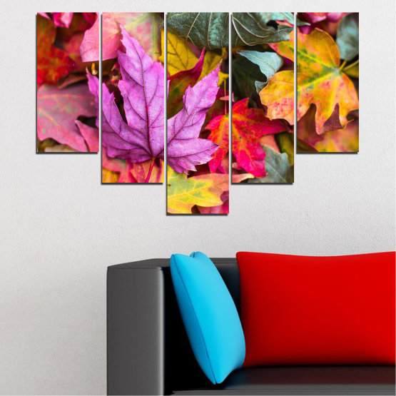 Canvas prints & wall decorative panels - 5 pieces №0769 » Red, Pink, Purple, Yellow, Brown, Milky pink, Dark grey » Tree, Autumn, Colorful, Leaf, Leaves Form #6